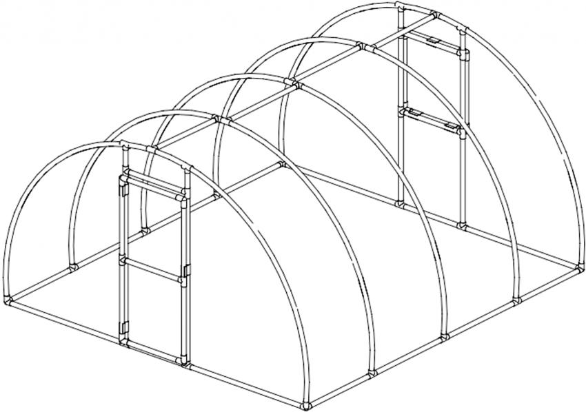 Схема арочного парника с использованием пластиковых труб