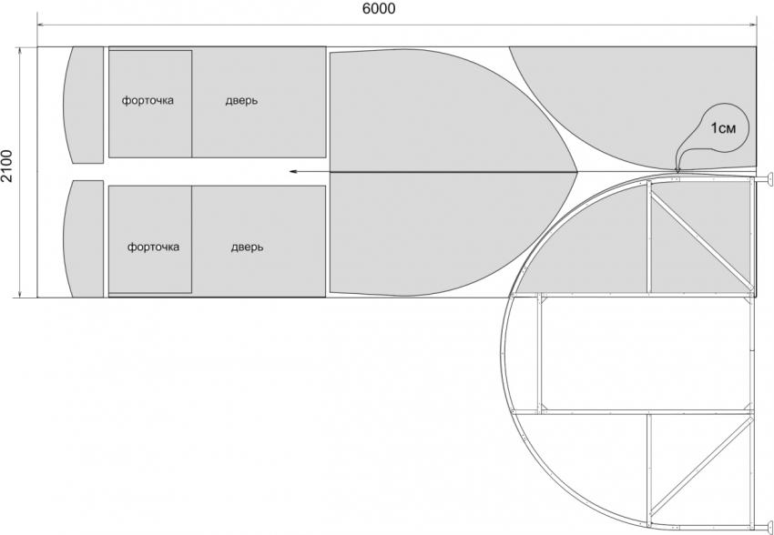 Схема раскроя листа поликарбоната для парника 4×3×2 м
