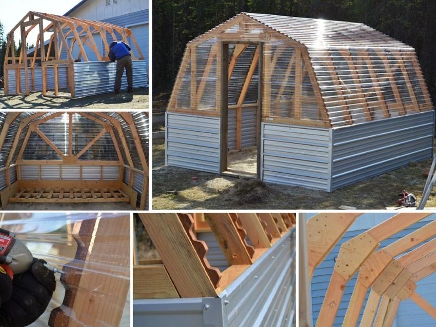 Фото монтажа арочного парника с использованием деревянных брусьев и покрытием из поликарбоната