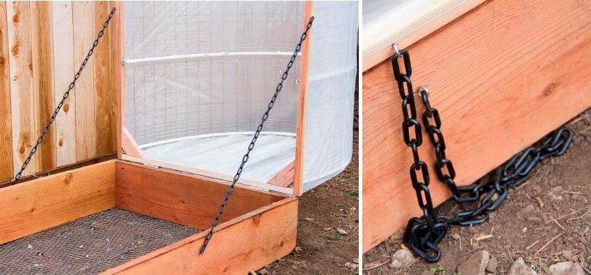 Для удобства, низкий парник можно сделать с открывающимся верхом, закрепив две части с помощью веревки и цепи