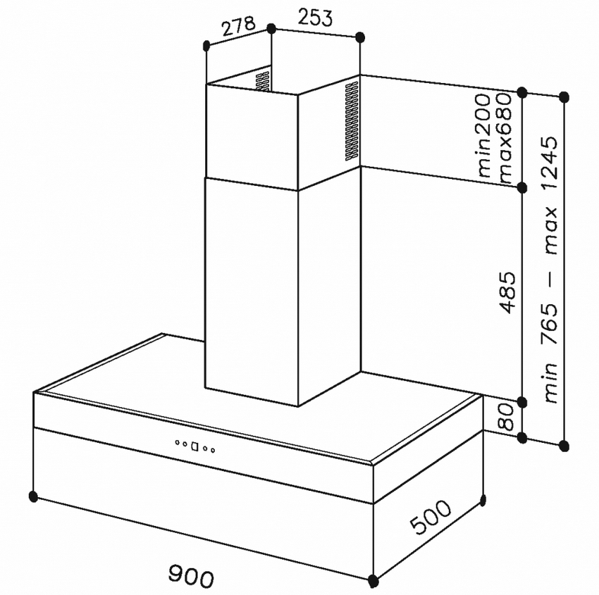 Схема размеров пластикового короба для вытяжки