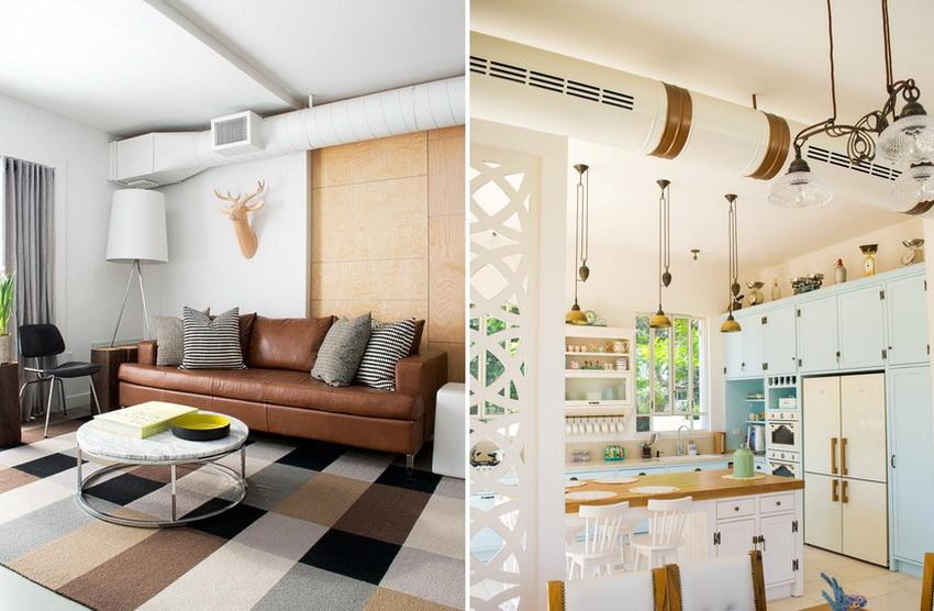 Пластиковые воздуховоды в квартире не только удобны, но их можно стильно обыграть, создав уникальный дизайн