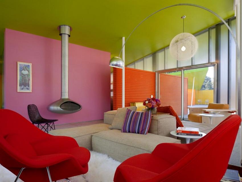 Использование водоэмульсионных красок в дизайне помогает создать яркие интересные акценты