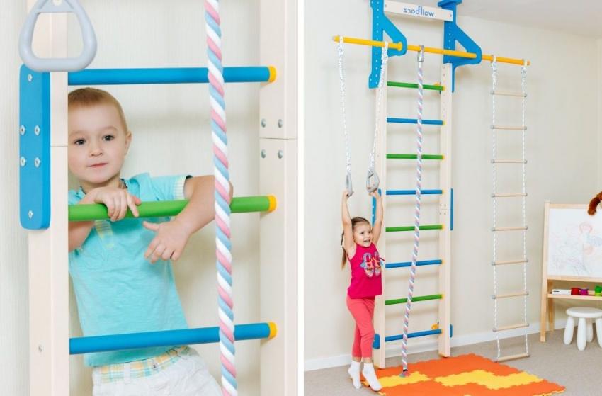 Для того чтобы обезопасить занятия спортом на шведской стенке, можно дополнительно приобрести маты, которые защитят ребенка в случае падения