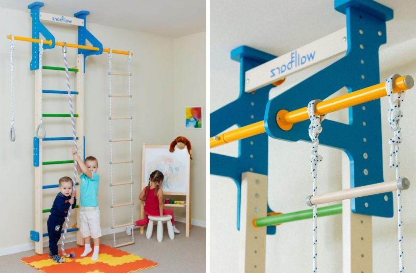 Распорная шведская стенка, которая рассчитана для детей от трех лет и дополнительно оснащена канатом, лесенкой и кольцами