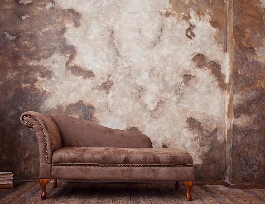 С помощью декоративной штукатурки можно выделить определенную акцентную стену или зону, что сделает интерьер более интересным