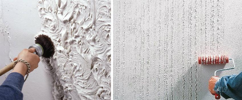 Для того чтобы добиться рельефности декоративного слоя штукатурки, необходимо использовать специальные терки, валики или кисти