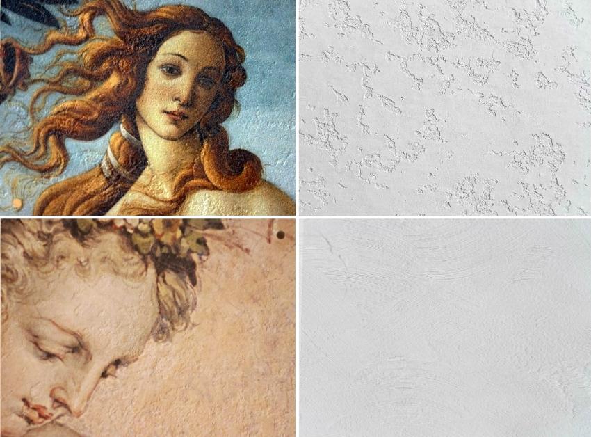Фактура фрески может быть разная и зависит от используемой штукатурки и техники ее нанесения