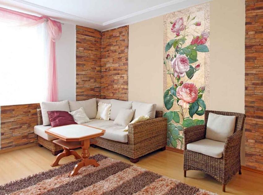 Использование фресок на флизелиновой основе позволяет выделить определенную зону комнаты