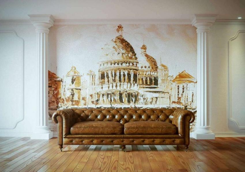 Поскольку смешение стилей сейчас в моде, фрески можно использовать при оформлении любого интерьера, но стоит продумать будет ли она сочетается с другими элементами декора