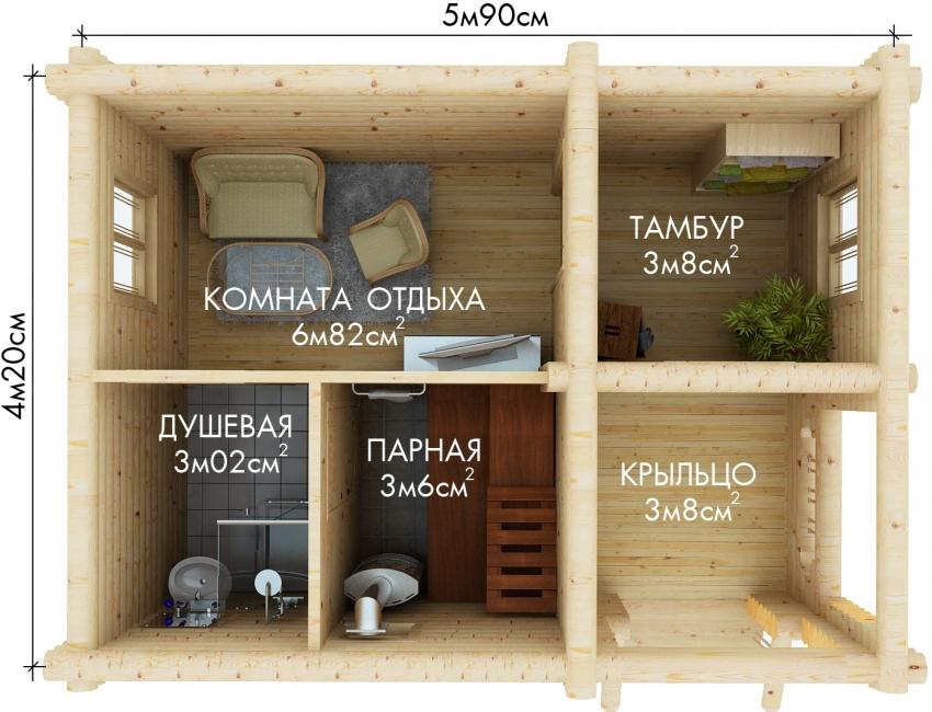 Готовая схема бани среднего размера 4,2х5,9 м с дополнительными помещениями: тамбуром, зоной отдыха и душевой
