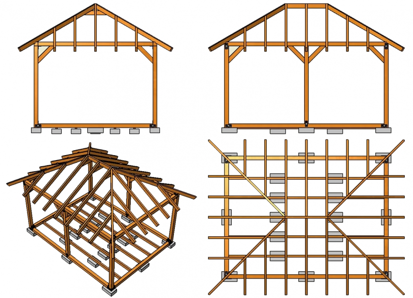 Схема стропильной системы четырехскатной вальмовой крыши