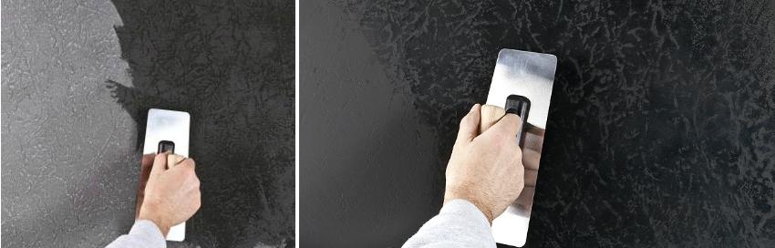 Поверхностное нанесение краски на фактурную штукатурку позволяет получить эффект глубины благодаря тому, что бороздки не прокрашиваются