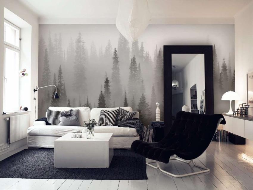 Черно-белые фото-обои пользуются большой популярностью в современном дизайне интерьера