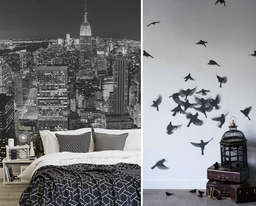 Фотообои - отличный вариант для оформления комнаты в черно-белой гамме