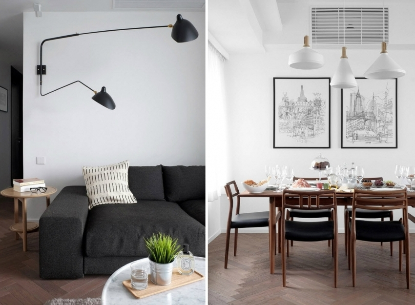 Важным пунктом в оформлении монохромного дизайна является использование деталей интерьера, которые смягчают белый или черный цвет