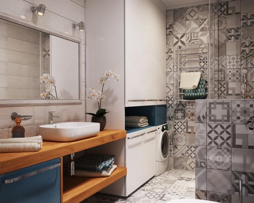 Пример использования плитки в стиле печворк для оформления ванной комнаты