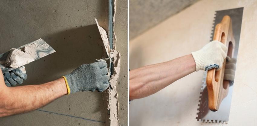 Для выравнивания бетонной поверхности стены необходимо установить маяки и нанести ровным слоем штукатурку