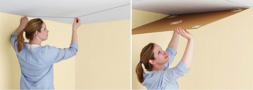Перед поклейкой плитки, следует произвести разметку на потолке для того, чтобы финишная отделка была ровной
