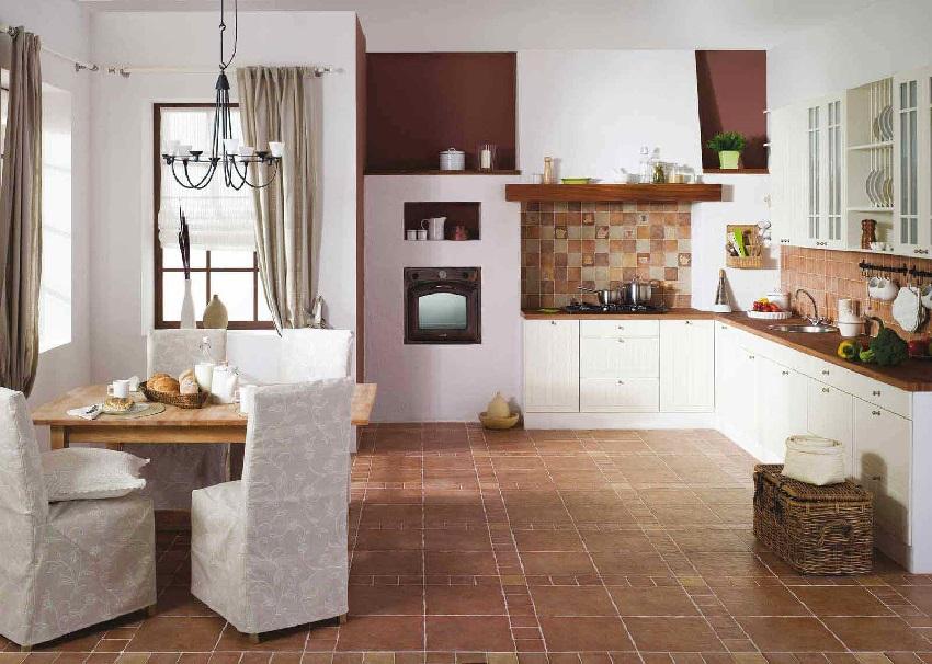 Сочетание цвета напольной плитки и фартука