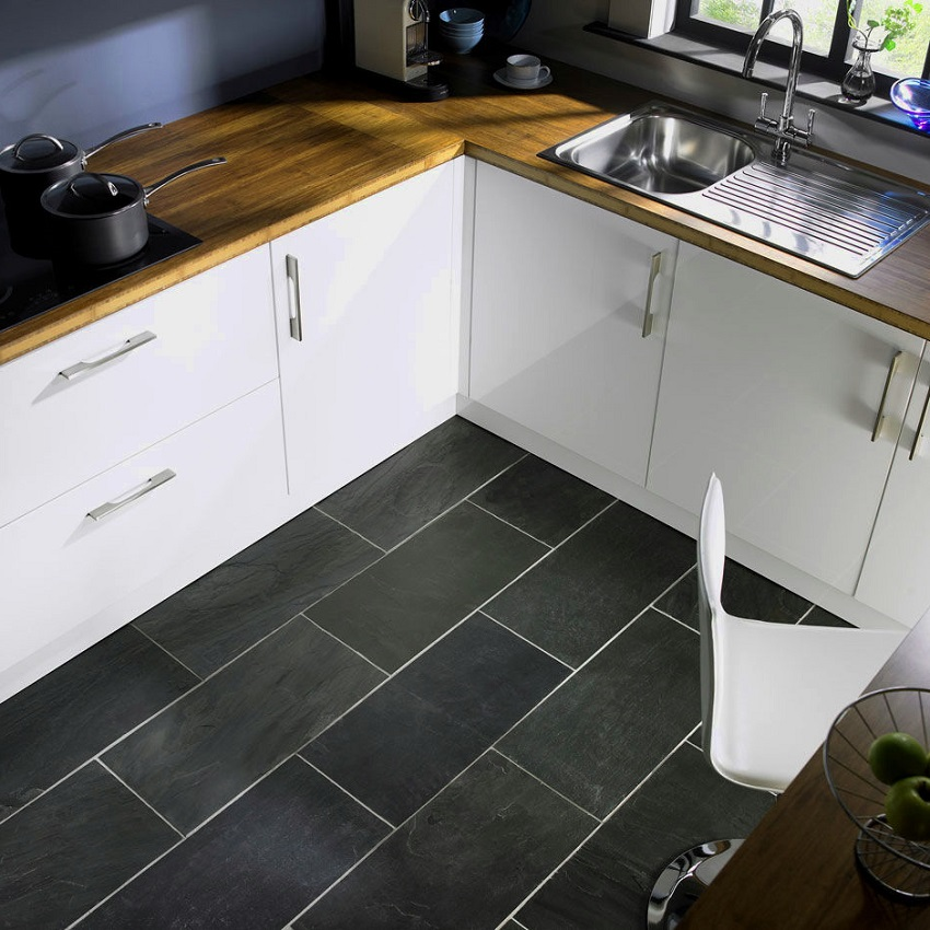 Grey kitchen floor tile