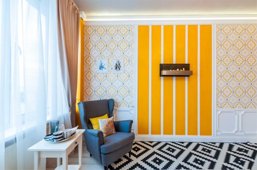 Для комнат с недостатком дневного освещения рекомендуется использовать обои желтых оттенков