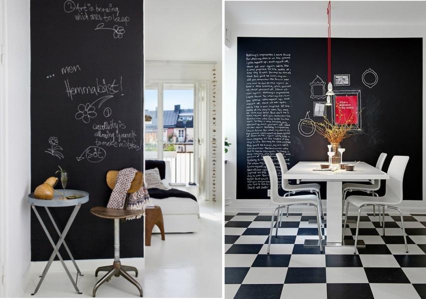 Сочетание белых и черных графитовых обоев все чаще используется для оформления интерьеров в современном стиле