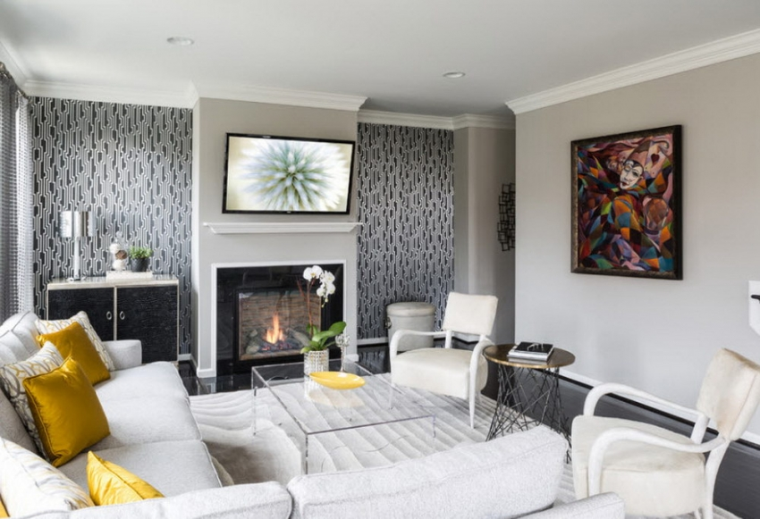 Комбинированные обои в зал: фото, дизайн 2017-2018 в интерьере