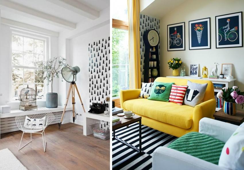 Черно-белые обои часто используются для оформления интерьера в скандинавском стиле