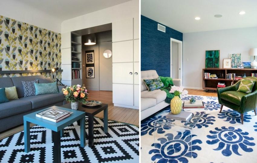 Отделка акцентной стены обоями контрастных оттенков является одним из современных и популярных способов оформления гостиной комнаты