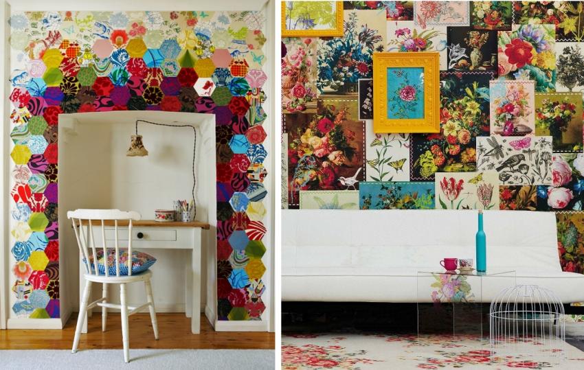Яркие вставки в стиле печворк рекомендуется комбинировать с обоями и мебелью белого цвета