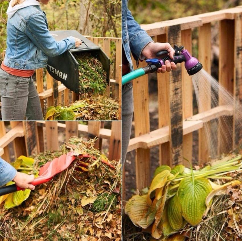 Для того чтобы процессы в компосте протекали быстро, необходимо следить за тем чтобы куча была влажной