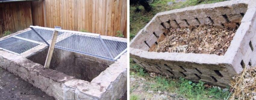 Компостная яма из бетона не настолько удобна, как ящик, но такую конструкцию легче замаскировать на участке