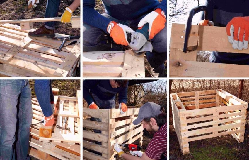 Процесс создания компостного ящика из деревянных паллет