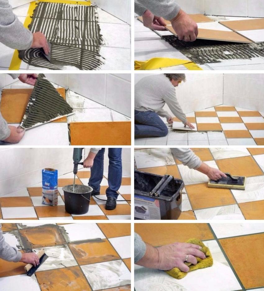 Процесс укладки нового слоя плитки на старое покрытие