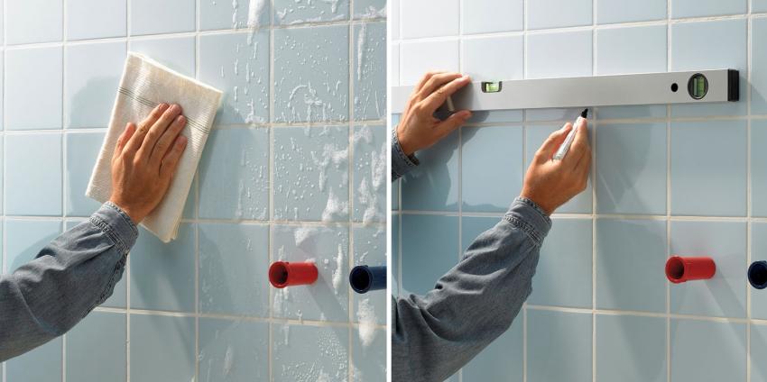 Перед укладкой нового слоя плитки основание необходимо очистить от загрязнений и сделать разметку