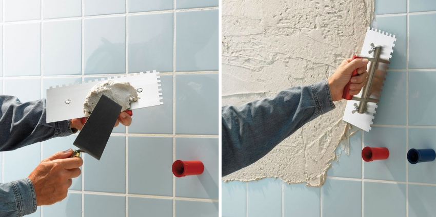 Для улучшения крепления нового слоя плитки, на старое основание наносится бетонконтакт