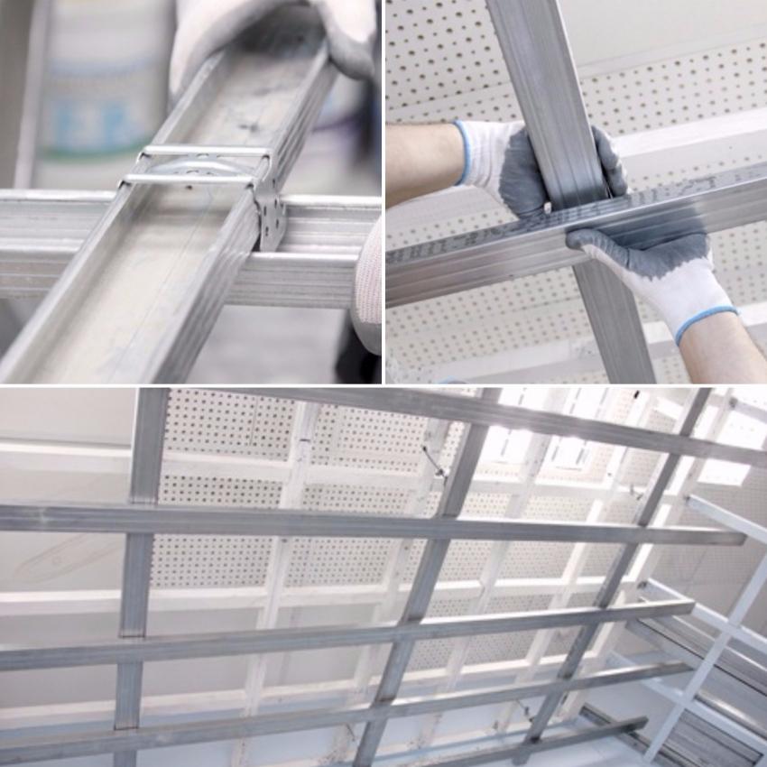 Если планируется многоярусная конструкция — каркас расположенных ниже уровней подшивается исключительно к профилям верхнего яруса, а верхний ярус закрепляется в бетоне с помощью шурупов