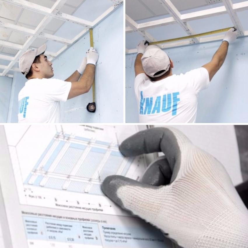 Для того чтобы стыки и сам потолок были ровными, необходимо проверять правильность расположения реек на каждом этапе монтажа