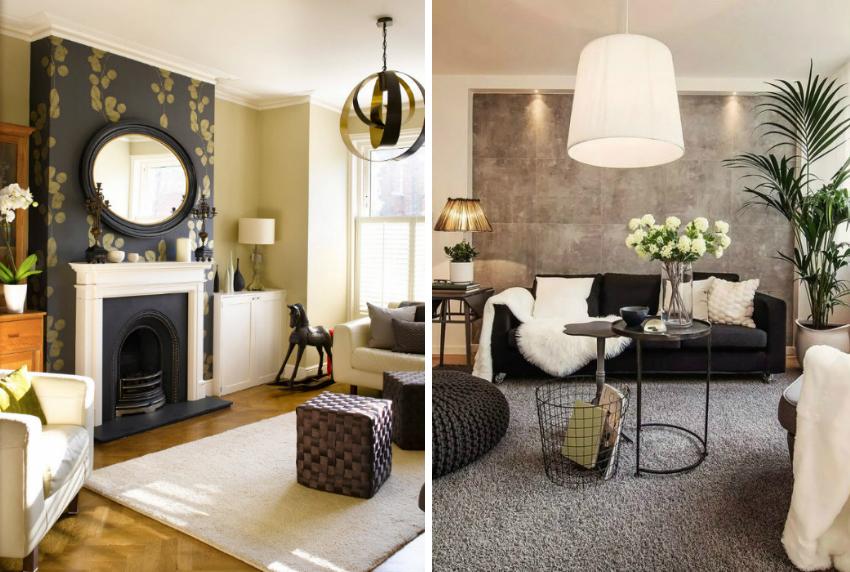 При выборе обоев важно учитывать качество и количество освещения в гостиной комнате
