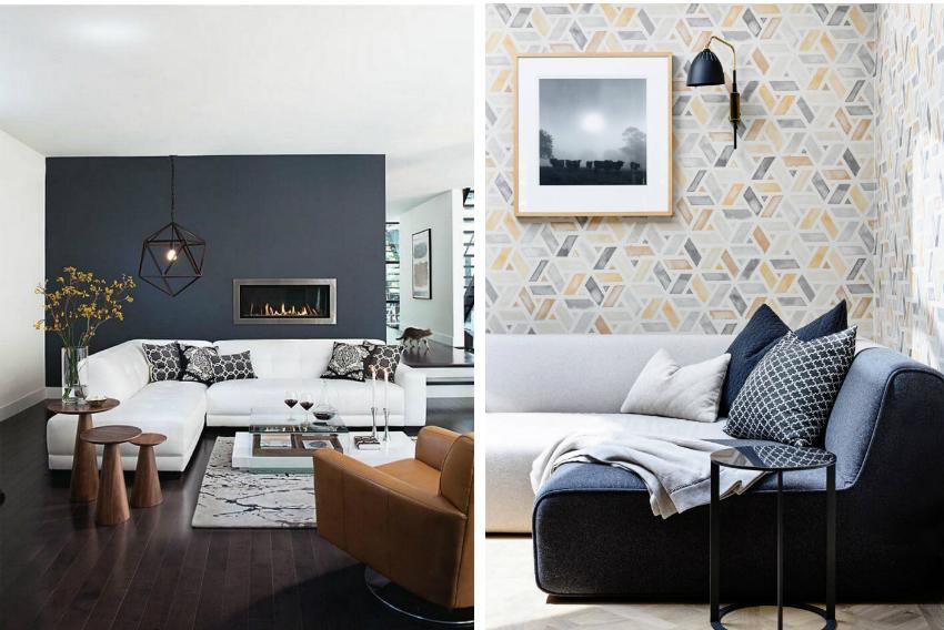 Пример удачной комбинации обоев и мебели монохромных оттенков