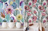 Пестрые обои с цветочным орнаментом