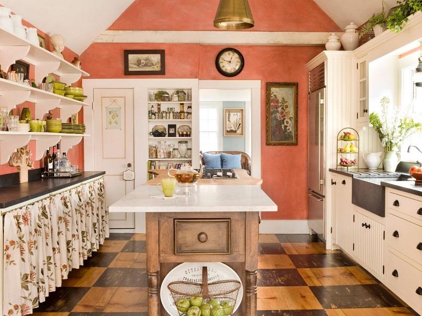 Яркие обои в интерьере кухни