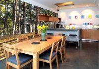 3D обои в кухне с изображением леса