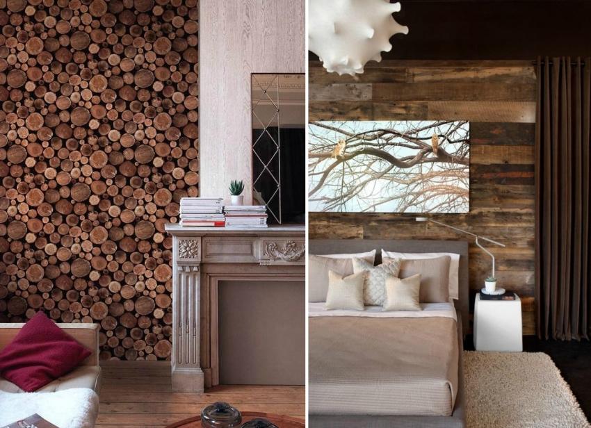 Примеры удачной отделки акцентной стены с помощью обоев, имитирующих дерево