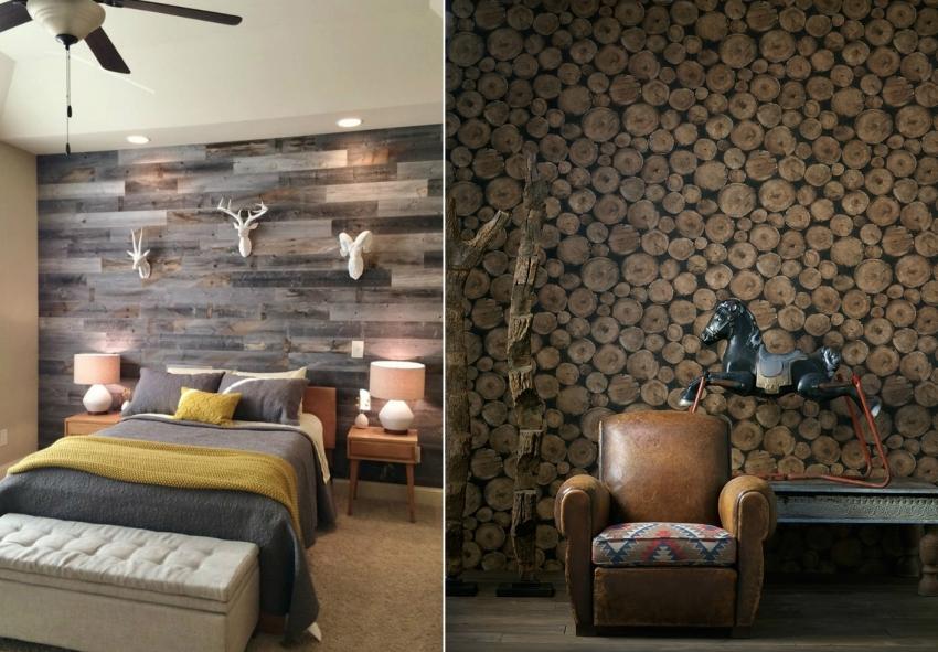 В зависимости от выбранного стиля оформления комнаты можно подобрать подходящий рисунок обоев - спил дерева, амбарной доски, или разноцветных досок