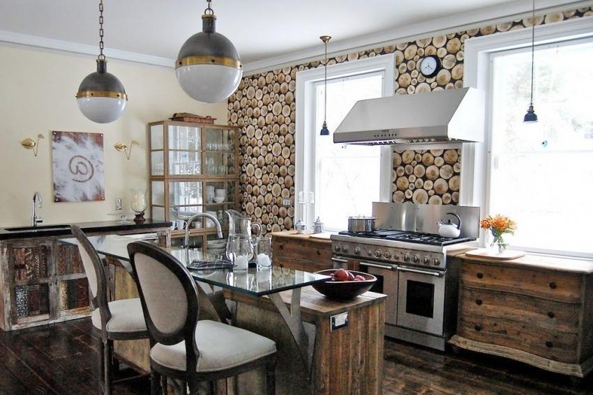 Удачный пример использования 3D обоев с имитацией сруба дерева на кухне