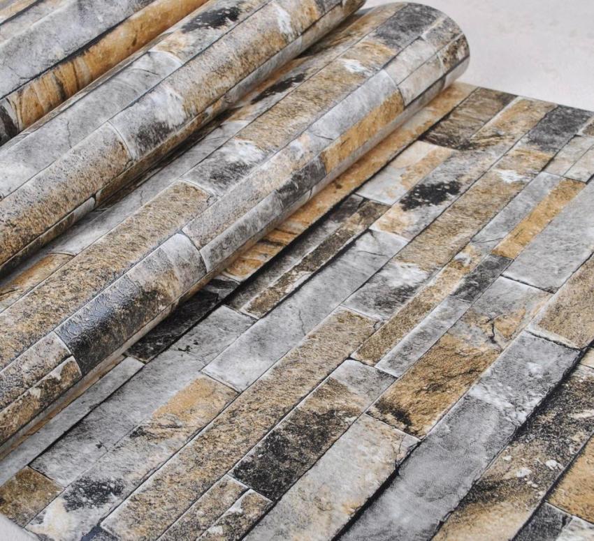 Обои под камень эффектно имитируют рельеф, швы и выпуклости натурального материала