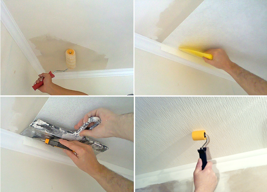 При поклейке обоев под покраску на потолок, следует обратить особое внимание стыкам