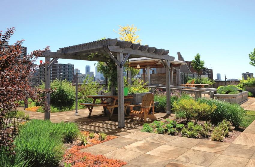 Сад с беседкой на крыше - чудесное место отдыха